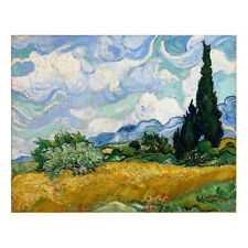 Wheat Field with Cypress Canvas Print Van Gogh Painting Repro Wall Art Framed