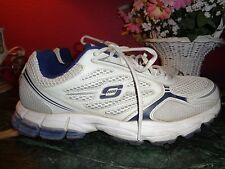 """Mens SKECHERS SPORT 8.5M white & navy blue 12"""" x 5"""" in very good condition"""