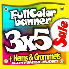 3x5 Printed Full Color Custom Banner Sign * Sale Price * +grommets +hems AMBSP