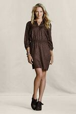 LANDS' END CANVAS WOMENS NWT 3/4-SL PRINTED SPLIT-NECK DRESS--12--SHIPS FREE