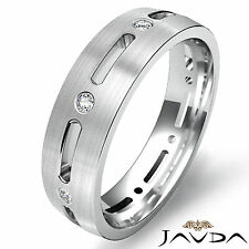 Round Diamond Bezel Eternity Wedding Mens Dome Band Classic Platinum Ring 0.15Ct