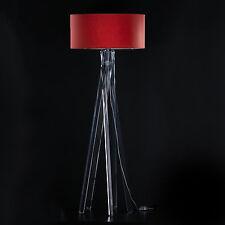 Design Stehlampe Tripod Leuchte Plexiglas Lampe H=160cm Stativ Stehleuchte Rot
