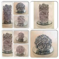 Set of 3 Hand made Silver Rose Pillar/ball candles/church candle/wedding candle
