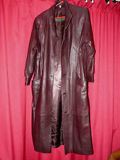 womans butter soft burgundy leather long coat 46 chest 50 long stunning on