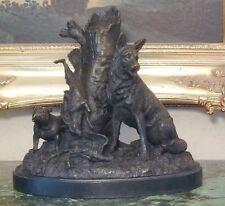 German Shepherd Police K9 Military Dog Bronze Marble Statue Collectible Art Gift