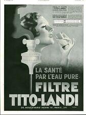 """Publicité Ancienne """"  Filtre TITO-LANDI - La Santé  1933 ( P. 36 ) Draeger"""