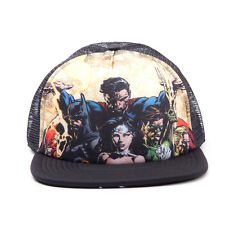 DC COMICS JUSTICE LEAGUE BATMAN/ SUPERMAN/ FLASH BLACK TRUCKER SNAPBACK CAP *NEW