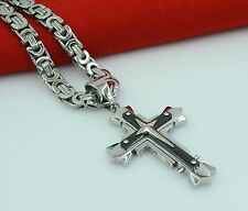 """24""""Stainless Steel Silver Box Link Chain Necklace Bracelet Sta Cross Pendant SET"""