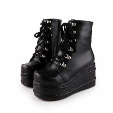 Women's Punk Boots High Platform Flat Lace up Gothic Slouch Combat Boots