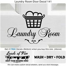 Laundry Room Wash Dry Fold Door Wall Vinyl Quote Sticker Decor Art Decal S141
