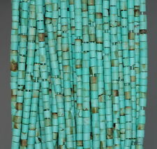 3.5MM TURQUOISE GEMSTONE GREEN ROUND TUBE HEISHI LOOSE BEADS 12.5""