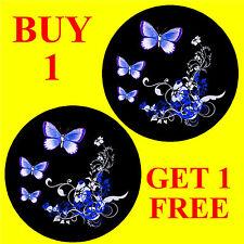 BLUE / BLACK BUTTERFLY & FLOWERS  - FUN CAR / WINDOW STICKER + 1 FREE - NEW