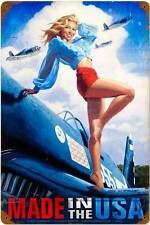 Made In The USA Pin Up Girl Vintage Distressed Metal Sign Wall Decor HB006