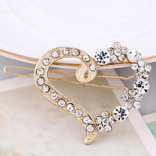 1X Lady Alloy Rhinestone Heart Barrette Hair Clip Hairpin Head Accessory Jewelry