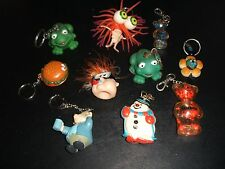 KEY CHAIN LOT OF 10 CREATURES FROGS BEARS SNOWMAN NOVELTY & MORE NICE STUFF