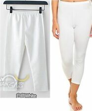 White Cotton Knit Pull-On Cropped Leggings Pants Comfy Fit Sz L