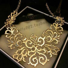 Retro Carve Flower Hollow Statement Bib Choker Chain Pendant Necklace Jewelry