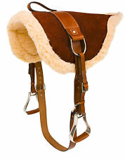 ENGLISH WESTERN HORSE LEATHER BAREBACK SADDLE PAD WITH STIRRUPS TREELESS TACK