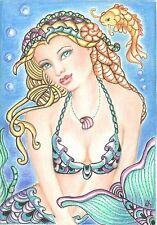 Aceo Print Fantasy Mermaid Koi   Zentangle Inspired Art