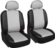 Faux Leather White Black Seat Cover 6pc for Honda Civic w/Detachable Head Rests