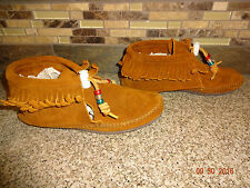 Youth Girls Minnetonka Moccasins Sz 3 Brown Suede Leather Shoes Fringes