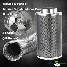 "8"" Ventilation Setup Inline Exhaust Fan Carbon Filter 8"" Ducting Hydroponics Kit"