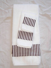 Bath Hand Towel Wash Cloth White Brown Vertical Stripe Everyday 3 Pc LAST SET