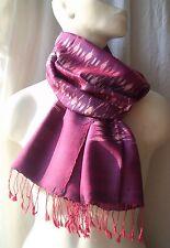 RAUTEN MUDMEE-Schal scarf 100% Rohseide rosa violett brombeer 46x156 Handarbeit