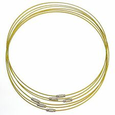 NC171f Gold Stainless Wire Collar For Pendants Silver Twist Clasp Necklace 1/pkg