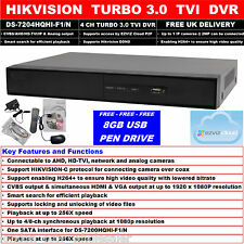 Hikvision 4 ch turbo 3.0 tvi dvr cvbs, dispositifs antimanipulation, ip & analogiques ezviz ds -7204 HQHI-F1/N+USB