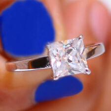Solitaire 2.40 Carat Sparkling Princess Cut 925 Sterling Silver Engagement Ring