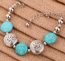 2PCS  Tibetan Silver Oblate Beads Bangle Turquoise Chain Bracelets Women Party