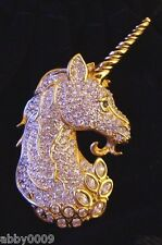 Signed Swan Swarovski Pave' Unicorn Brooch Pin