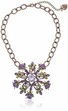 BETSEY JOHNSON 'Spring Fling' Purple Green Bug Flower Rose Gold-Tone Necklace
