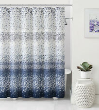 Celebration Navy Blue White Striped Confetti Fabric Shower Curtain