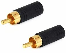 2x 3.5mm Mono Female Jack to RCA Male Plug Audio Adapter Cable Converter Gold