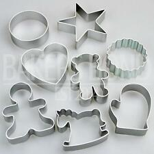 Traditional Shapes Set of 8 Metal Cookie Cutters Scalloped Teddy Round Biscuit