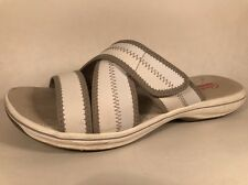 Clarks Collection White Slide Sandals Women's Sz 9 M Slip On