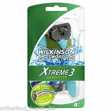 4x WILKINSON SWORD XTREME 3 Sensitive rasoi usa e getta
