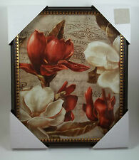1 Framed Wall Art White & Red Peony Flower Picture Botantical Flowers #3