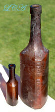 RARE  PAIR of Unique TRIANGLE shaped AMBER antique bottles STEARNS CO. Detroit