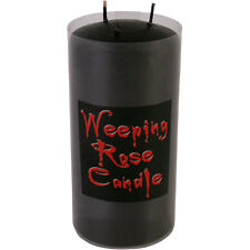 WEEPING ROSE PILLAR CANDLE - Jet Black & Weeps Blood Red Wax - Same Day Despatch