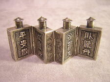 4 Chinese Hinged Silver Snuff Bottles