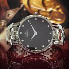 Movado Faceto Diamond Mens Watch 0606237 Swiss Black Stainless Full Size 38mm