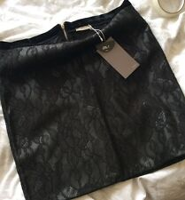 Black Zara Lace Faux Leather Skirt Medium M 10 New BNWT Sold Out