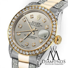 Ladies Rolex Oyster Perpetual Datejust 26mm Custom Silver Diamonds Dial