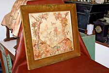 "Antique Large Velvet Framed 28 x 31"" Needlepoint Tapestry of Dog Hunting Ducks"