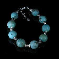 GORGEOUS .925 Sterling Silver Natural Turquoise Beaded Bracelet