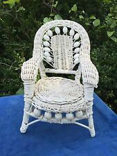 Antique SHABBY CHIC Doll Wicker Furniture Victorian Settee Chair White Wash RARE