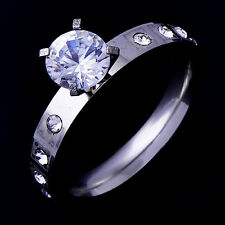 Shinning Womens Wedding Clear Zirconia Stone Ring White Gold Filled Size 6